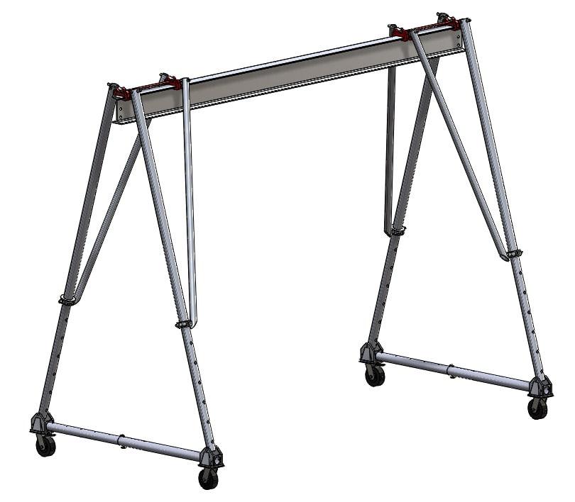 "Wallace 2 Ton Aluminum Tri-Adj Gantry Crane, 12\'6"" High 10\' Span"
